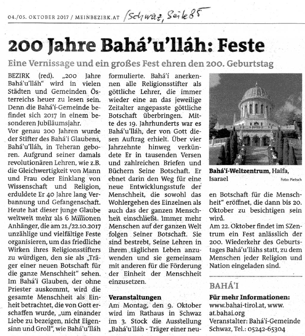 Artikel vom 5.10.2017 (Bezirkszeitung Schwaz)