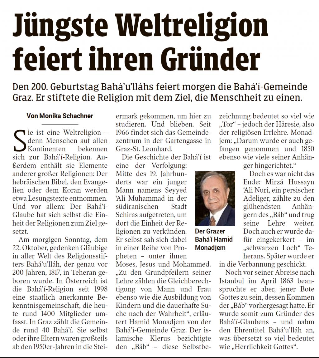 Artikel vom 25.10.2017 (Kleine Zeitung Graz)