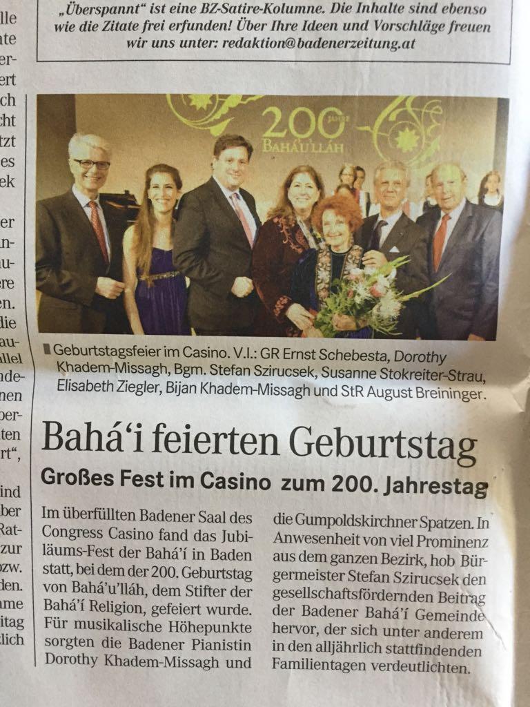 Artikel vom 2.11.2017 (Badener Zeitung)