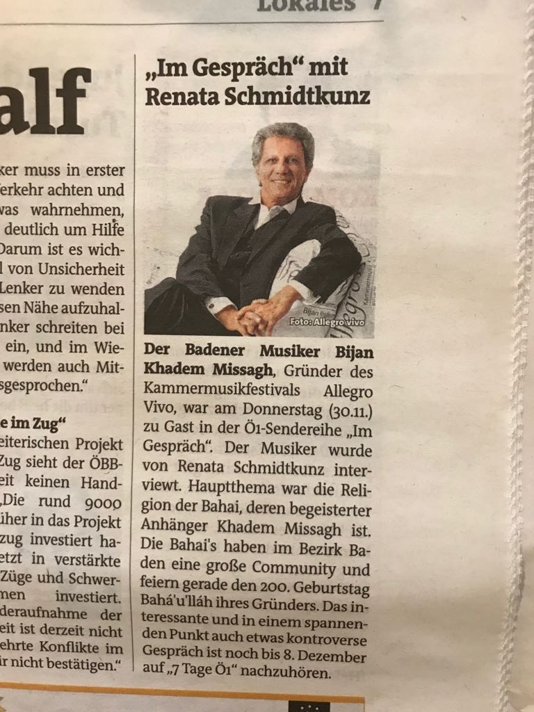 Artikel des Bezirksblatts zur Radiosendung im Ö1