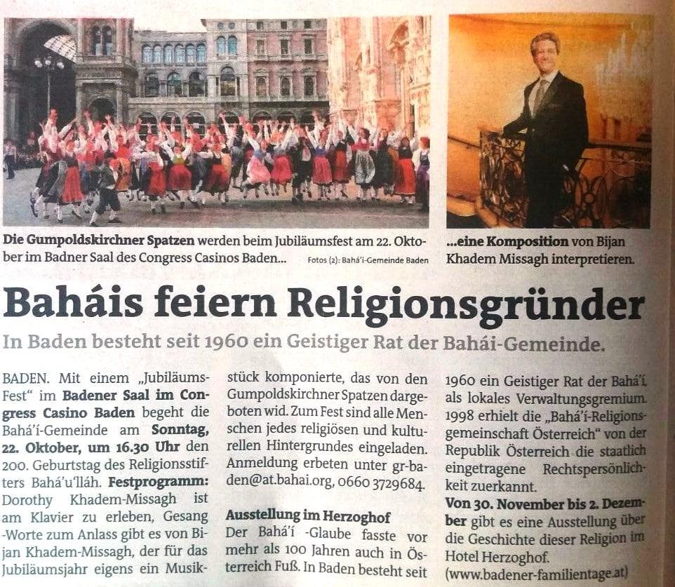 Artikel vom 18.10.2017 (Bezirksblatt Steinfeld)