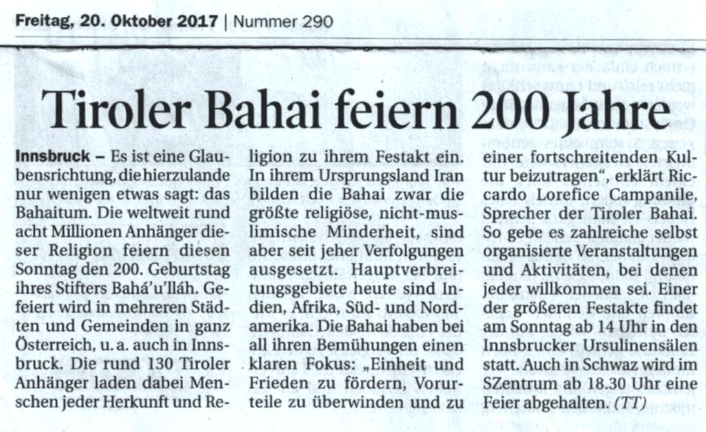 Artikel vom 20.10.2017 (Tiroler Tageszeitung)